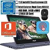 2020 Newest Asus Vivobook Flip 11 2-in-1 Thin and Light Laptop 11.6' HD Touchscreen LED Intel Celeron N3350 4GB RAM 64GB eMMC 128GB SD Card Office 365 WiFi HDMIWin 10 + iCarpWirelessMouse