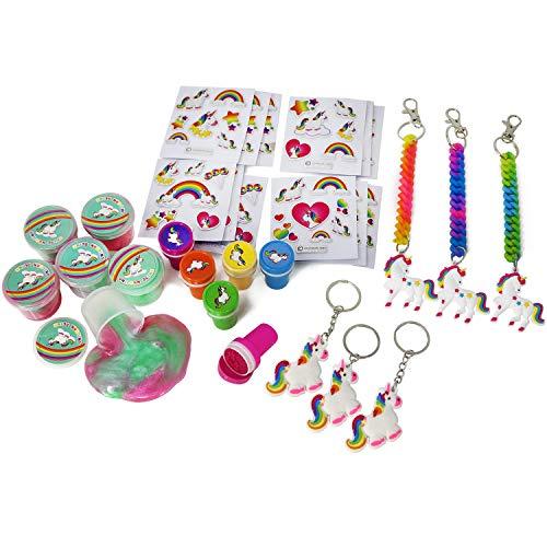 COM-FOUR® 30-delige weggeefset met eenhoornmotieven voor verjaardagen van kinderen bestaande uit stickers, sleutelhangers, slijm en stempels [selectie varieert] (030 stuks)