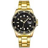 Herren Edelstahl Uhren,Kimdera Männer Chronographen Elegant Design Wasserdicht Datum Kalender Goldene Uhr Unisex Business Mode Kleid Analog Quarz analog Armbanduhr (Gold)
