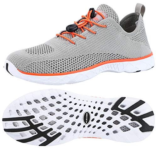 ALEADER Mens Water Shoes, Xdrain Venture Knit, Travel Sneakers Sand/Orange 12 D(M) US