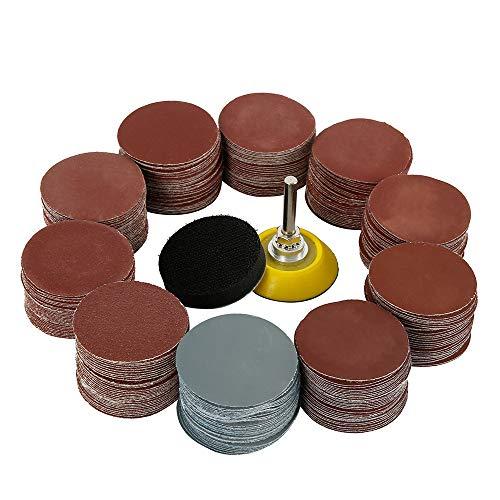 300 discos de lijado de 50 mm para jirafa, discos, papel de lija para amoladora con almohadilla de pulido de espuma, discos abrasivos de grano 80/180/240/320/400/600/800/1000/2000/3000 Grits