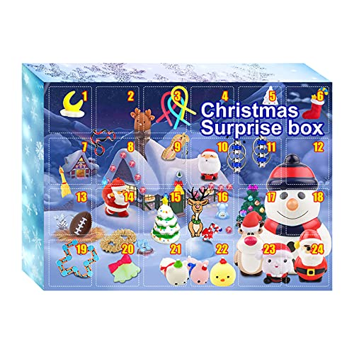 nvIEFE Pop Fidget leksaker adventskalender, 24 dagar jul nedräkning persienn låda, sensorisk fidget leksaker paket, stresslindring roliga leksaker för festpåse fyllning (paket D1)