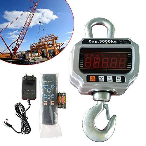 Báscula de grúa industrial para colgar (3000 kg, con pantalla LED y mando a distancia)