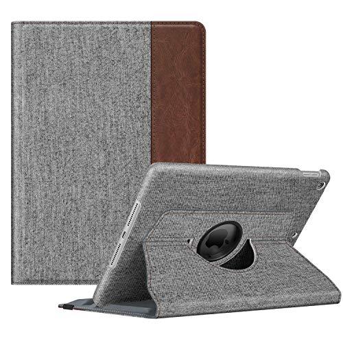 Fintie Hülle für iPad 10.2 Zoll 9.Generation / 8. Gen / 7. Gen (Modell 2021/2020/2019) mit Pencil Halter - 360 Grad Rotierend Stand Schutzhülle Cover mit Auto Schlaf/Wach Funktion, Denim grau