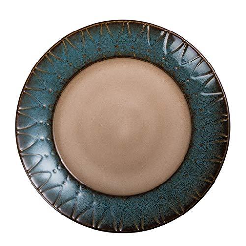 Vajilla de cerámica creativa, platos occidentales redondos, glaseados en el horno, utilizados para bistec, ensaladas, postres, pastas, etc., microondas, lavavajillas, gabinete de desinfección, apto