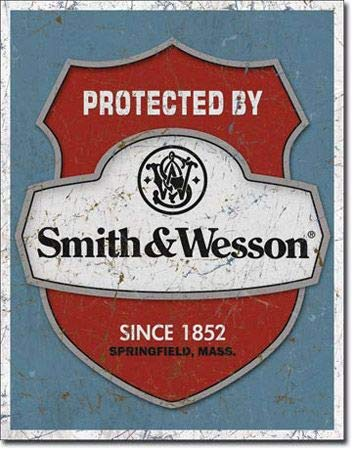 Wallors Vintage Signs Metal Wall Decor Funny Plaques Poster Protected by Smith & Wesson Tin Sign 16 x 12 for Coffee Outdoor Kitchen House Room Home