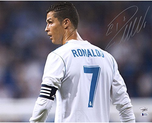 Cristiano Ronaldo Real Madrid Autographed 16' x 20' Back Shot of White Jersey Photograph - BAS - Autographed Soccer Photos