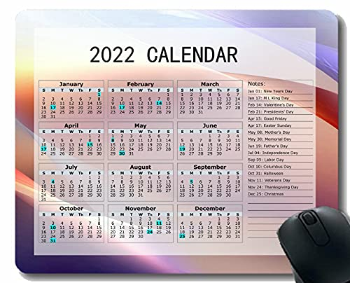 Gaming Mouse Pad 2022 año Calendario con Vacaciones, Luz Suave Línea de Color Forma Cuaderno de Escritorio Alfombrilla de ratón para Trabajar y Juegos