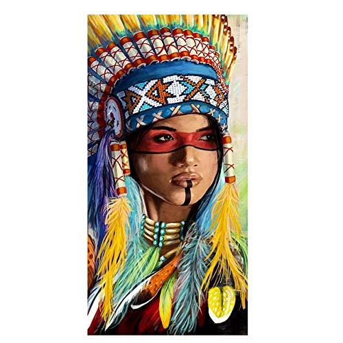HUAZAI Pintura de la Lona Resumen Acuarela Retrato Indio Nativo Lienzo Pintura Carteles y Las Impresiones escandinava Arte Cuadro de la Pared de la Sala de Estar (Color : Q6, Size (Inch) : 60x120cm)