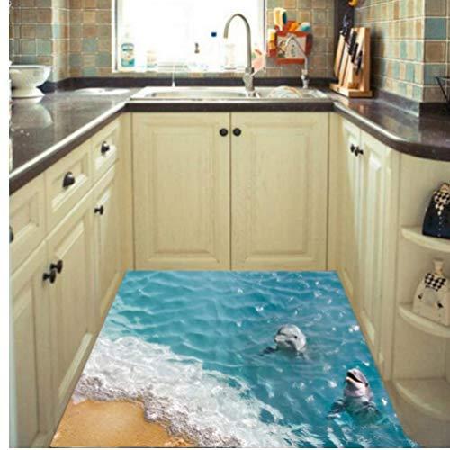 Gamloious Wandaufkleber Dolphin 3D-Boden-Aufkleber Bodenbelag Küche Badezimmer Harz Removable Seestern Dolphin Zimmer Fussboden Aufkleber Badkamer schwarz