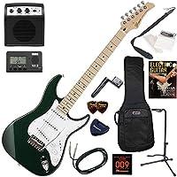 GRECO エレキギター 初心者 入門 日本製 細く薄いネックで弾き易いモデル ミニアンプが入ったお手軽13点セット WS-STD/DKGR/M(ダークグリーン/メイプル指板)