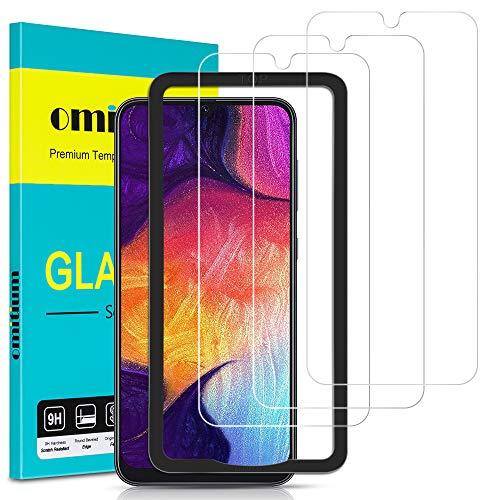 omitium Pellicola Vetro Temperato per Samsung Galaxy A50, [3 Pezzi] Pellicola Protettiva Samsung Galaxy A50 / A50S / M30S [Cornice di Allineamento] 9H Durezza Protezione Schermo per A50 / A50S / M30S
