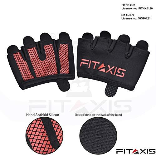 FITAXIS Calleras para Crossfit, Freeletics, Calisthenics y Gimnasia - Protección para Tus Manos - Guantes Gimnasio | Hombres Y Mujeres (Black/Red, M)