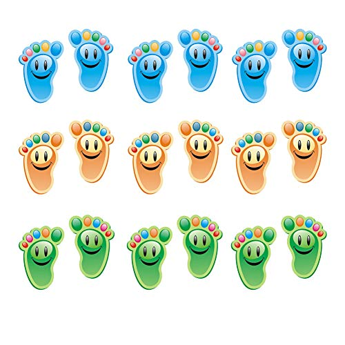 30 Pairs Kids Footprint Stickers for Classroom Floor Lineup Spots Adhesive Vinyl Animal Stickers Social Distancing Floor Decals for Kids Nursery Floor Stairs Decor, 3 Colors
