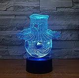 Futbolín que lleva una forma de sombrero lámpara LED 3D LED ambiente visual decoración luz nocturna interruptor táctil lámpara 20 colores cambia con Bluetooth