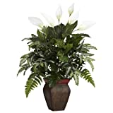 """Nearly Natural 6677 Mixed Greens with Spathiphyllum and Vase Decorative Silk Plant, Green,7.5"""" x 9"""" x 30"""""""