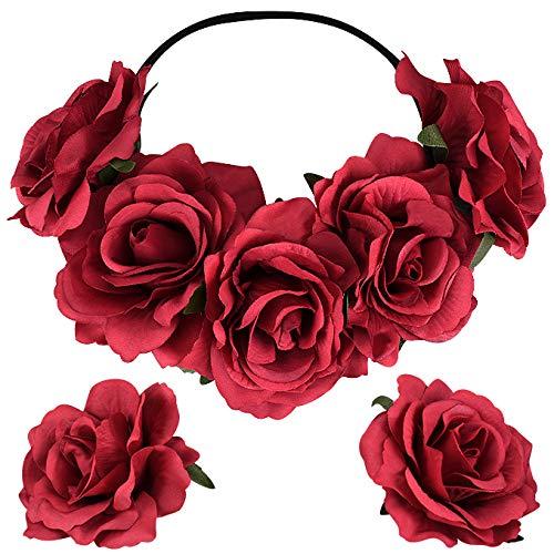 X-Mile Diadema de flores color de rosa con 2 Boutonnieres Corona Cabello Guirnalda Fotografía del festival de bodas Tocado Rosa Rojo Mujeres y niñas