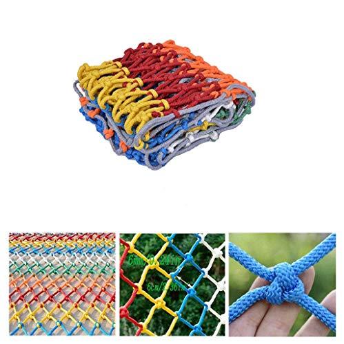 LIXBD Hausschutznetz Kinder Treppen Schutz Net Raumteiler Net Decke Netto Farbe Dekorative Net handgewebt Industrie Polyester Mesh Seildicke 6mm / Gitter 6cm (Größe: 2x5m) (Size : 3x6m)