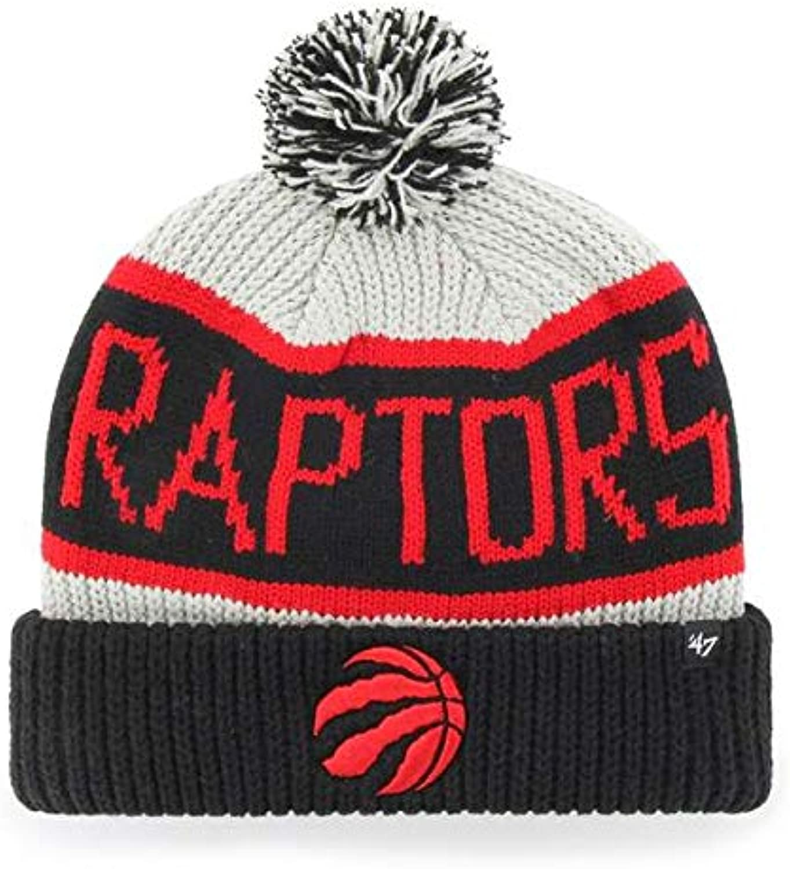 '47 Tgoldnto Raptors Black Cuff Calgary Beanie Hat with Pom Pom - NBA Cuffed Winter Knit Toque Cap
