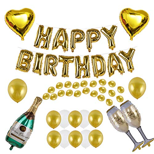 VANVENE Champagne Balloon Decoration Set with HAPPY BIRTHDAY Balloon for Birthday Party Supplies