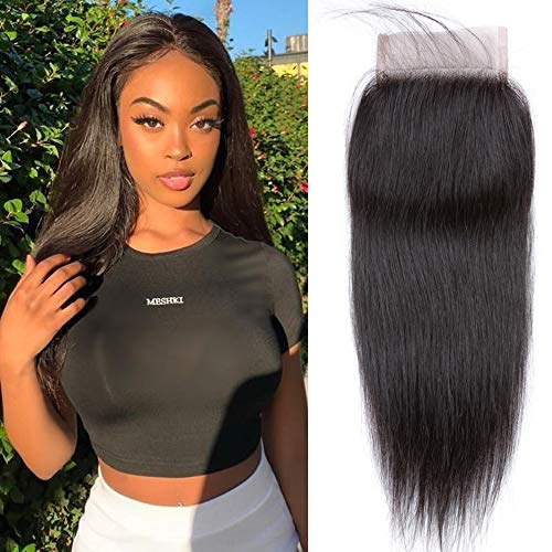 QTHAIR 12A Brazilian Straight Human Hair 4x4 Swiss Lace Closure(10',Free Part,Natural Black) 130% Density Indian...