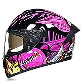 Casco moto integrale per uomo e donna Casco moto da corsa per moto da strada approvato DOT, per uomo e donna con doppia visiera parasole antiappannamento grafica,Pink clown b,M 57~58cm