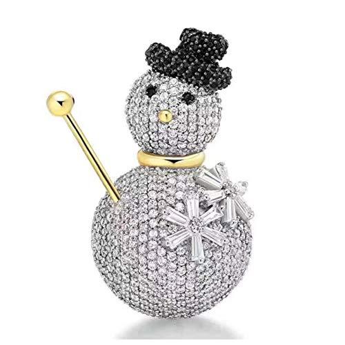 Xiatian Tierbrosche Luxus Zirkon Kristall Schneemänner Brosche 925 Sterling Silber Corsage Erstellt HE Brosche Weihnachtsmutter Geschenk(Color:Weiß)