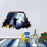 3D Réel Réaliste Autocollant Mural de décoration de Mur de Mur de Plancher de Salle de ménage de Halloween Heureux démontable Yuiopmo