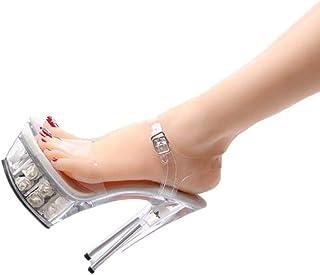 Ladies OpenToe Platform Sandals,Summer Transparent Rose Sandals,15Cm Crystal Super High Heel Sandals,Buckle Stilettos,White,36 EU