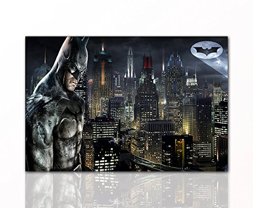 Berger Designs Batman Leinwand-Bild by Superhelden Wandgestaltung Gotham Wandbilder DC Comics Film Wanddeko Kunstdruck Comicfiguren DC Universe Bruce Wayne | 80 x 120 cm hochwertiger Leinwanddruck
