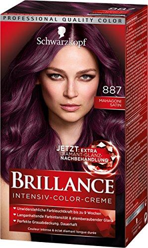 SCHWARZKOPF BRILLANCE Intensiv-Color-Creme 887 Mahagoni Satin Stufe 3, mit extra Diamant-Glanz-Nachbehandlung, 3er Pack (3 x 143 ml)