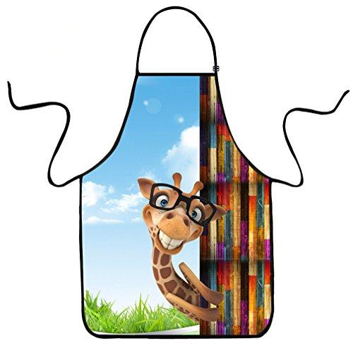 VIPbuy Schürze mit 3D-Tieraufdruck, lustig, verstellbar, wasserdicht, Küchenschürze zum Kochen, Grillen, Basteln Giraffe