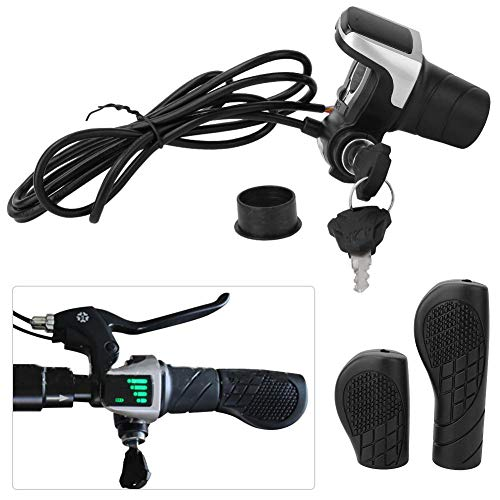 Jadeshay Ebike Throttle, 36V Electric Bike Bicycle Ebike Handlebar TwistGrip Throttle with LCD Display and Key Lock