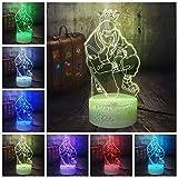 Naruto 3D lámpara de mesa LED luz nocturna base agrietada múltiples colores decoración del sueño