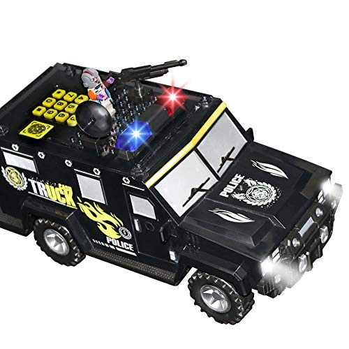 NOTHER Cool Electronic Armored Car Coin Bank with Password,Music Light, Building Blocks and Lock Auto Scroll Cash Coin Bank for Saving Money,Perfect Toy Gifts for Children Kids Boys Girls (Black)