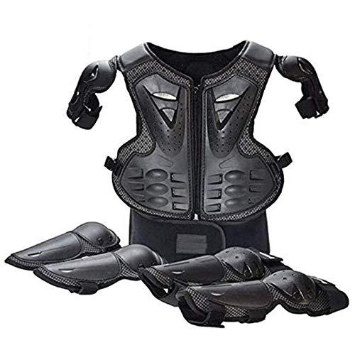 WJH Motorrad-Schutzausrüstung, Knieschützer + Ellbogenschützer + Rückenprotektorweste für Kinder, Einstellbarer Schutz für den Körper beim Fahren im Gelände, Radfahren, Skifahren