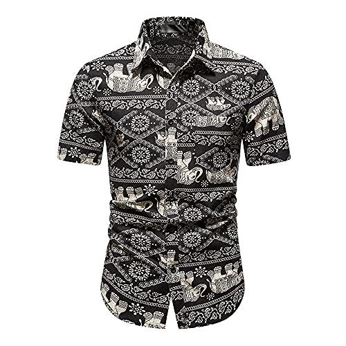 Camisas Hombre Manga Corta Relajado Y Cómodo Verano Casual Camisa Playa Transpirable Estampado Botones Tapeta Casual Camisa Hombre Natación Surf Camisa Hawaii Camisa Playa R-Multicolor 11 L