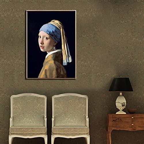PEEKEON Famosa niña de pintura con un pendiente de perla de Johannes Vermeer Pinturas de lienzo Classical Retrato Pósters e impresiones Decoración para el hogar 16x24inch Sin marco