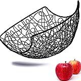 Kerafactum Frutero de metal decorativo, cesta grande de fruta, cesta de fruta grande, vintage, negro, para almacenar más vitaminas diarias, recubrimiento de polvo y ampliable, diámetro de 28 cm