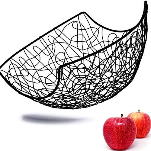 Kerafactum Ciotola per frutta in metallo, grande cesto decorativo   nero vintage per conservare più vitamine quotidianamente   verniciato a polvere ed espandibile nel set Ø 28 cm