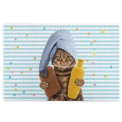 Sierra calar de 1000 piezas,Telón de fondo de rayas de gato con lindo gatito con champú y toalla de baño envuelta,juegos rompecabezas imágenes para adultos y niños Regalo graduación de boda familiar