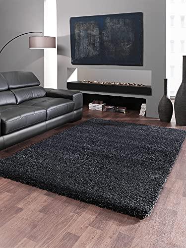 the carpet Port Deluxe Tapis épais moderne Shaggy Deluxe Elegant Salon Tapis Soft Frisee Uni Noir 200 x 290 cm