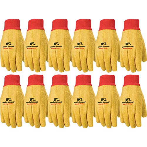 Wells Lamont Polyester and Cotton Handy Andy Gloves, Standard Weight   Perfect for Farming, Gardening, Yard Work, Machine Work & More   Extra Large, Bulk 12-pack (412XL)