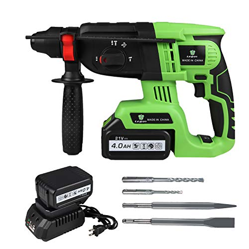 LETTON 21V Cordless Plus Rotary Hammer Drill, Brushless Demolition Hammer Kit with 4.0Ah Battery, Charger, Adjustable Handle, Drill Bits, Point, Flat Chisels