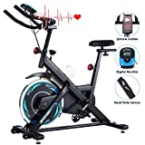 ANCHEER Exercise Bike Stationary 330 Lbs Weight Capacity- Indoor Cycling Bike with Tablet Holder and LCD Monitor for Home Workout (Black)