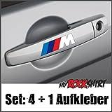 Türgriff-Aufkleber Set 4 x + 1 'M FAHNE BMW ',+Bonus Testaufkleber 'Estrellina-Glückstern' ®, gedruckte Montageanleitung von 'myrockshirt',