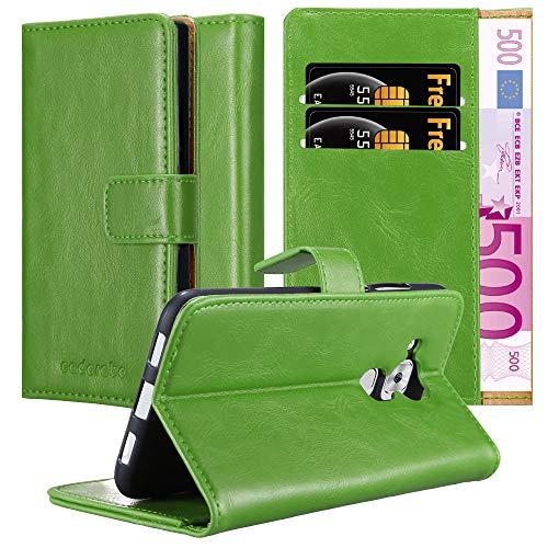 Cadorabo Hülle für Huawei NOVA Plus - Hülle in Gras GRÜN – Handyhülle im Luxury Design mit Kartenfach & Standfunktion - Case Cover Schutzhülle Etui Tasche Book