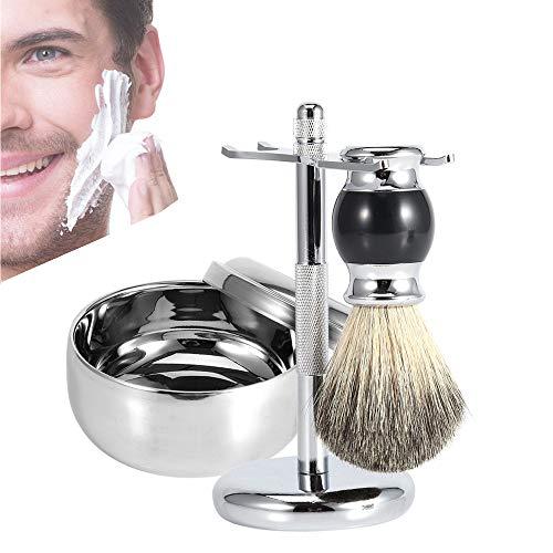 Scheerkit voor heren, professionele scheerstandaard voor mannen + faux haarborstel + legering zeep mok kom kit scheerkwast legering zeep mok kit