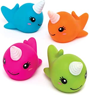 Baker Ross Ltd Narwhal Unicorn Water Squirters (Pack of 4) AW492, Assorted Floating Rubber Squirters Ideal for Bath Time or Water Activities
