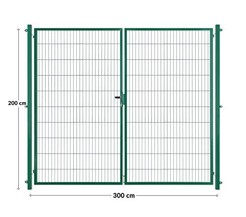 Arvotec dubbele deur/dubbel vleugeldeur, groen, 200x50, BxH: 2x1500x2000 mm - volledig opstelklaar met paal & bevestigingsmateriaal - met bijpassende aansluitstukken voor staafmattenhek